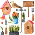 2292 garden, set of watercolor illustrations, garden tools, flowers, gardening, bird arrival, isolate on a white background Royalty Free Stock Photo