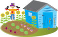 Garden shed with scarecrow Royalty Free Stock Photo