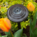 Garden solar light a placed amoung the tulips in the springtime Royalty Free Stock Image