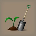 Garden spade and sprout vector illustration eps gradient meshes Stock Image