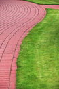 Garden stone path with grass brick sidewalk growing up between and around stones Stock Photography