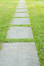 Garden stone path with grass growing up between the stones Royalty Free Stock Photo