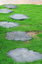Garden stone path with green grass. Royalty Free Stock Photo