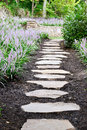 Garden stone path and liriope flowers Royalty Free Stock Photos