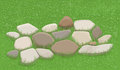 Garden stones stone walkway in the grass illustration Stock Photo