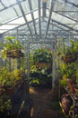 Garden store greenhouse interior of a with plants Stock Photo