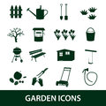 Garden symbols icons eps black Stock Photography