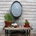 Garden table against a wooden fence Stock Photos