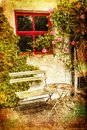 Garden table and chairs. Avoca. Ireland Royalty Free Stock Photo