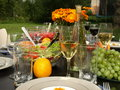 Garden table ready for a party summer with wine food and grapes Stock Photos