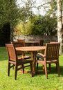 Garden and tables in cotswold district of england chairs inn or cotswolds southern the autumn Stock Images