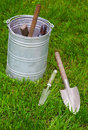 Garden tool o lawn in grass Stock Photo