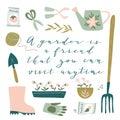 Garden tool set. Vector illustration of gardening elements. Happy gardening poster design.