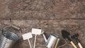 A garden tool, a shovel, a rake, a watering can, a bucket, table Royalty Free Stock Photo