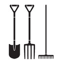 Garden tool spade, pitchfork and rake vector icons Royalty Free Stock Photo