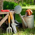 Garden tools gardening in a Stock Image