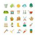 Garden tools, gardening equipment flat vector icons