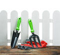 Garden tools and gloves Stock Image