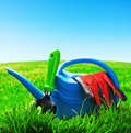 Garden tools on a lawn Stock Photography