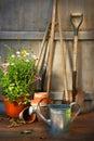Garden Tools And A Pot Of Summ...
