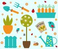 Garden tools set icons  stock vector Royalty Free Stock Photo