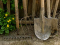 Garden tools some near old wooden fence Royalty Free Stock Image