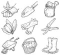 Garden tools and things vector set of icons at at engraved style Royalty Free Stock Photo