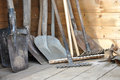 Garden tools view of in a wooden building Royalty Free Stock Photography