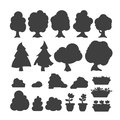 Garden trees vector silhouette flowers grass game park elements illustration nature forest green plant bush landscape Royalty Free Stock Photo