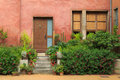 Garden in vieux lyon colorful old building the old city centre of france Stock Image