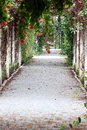 The garden walkways filled with trees and flowers Royalty Free Stock Photography