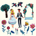 Garden wedding clipart with bride, groom, two swallowes, flowers, leaves, tree and arch.