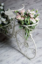 Garden white bicycle with a a basket of flowers roses Royalty Free Stock Photo