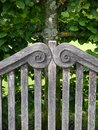 Garden: wooden bench detail Royalty Free Stock Photo