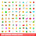 100 garden work icons set, cartoon style