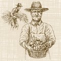 Gardener with a basket of harvested vegetables. Hand drawn set. Royalty Free Stock Photo