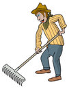 Gardener cartoon man with a rake works in a garden vector illustration Stock Image