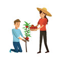 Gardener couple icon