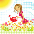 Gardener happy woman watering flowers vector available as eps Royalty Free Stock Image