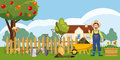 Gardener homestead icons set, cartoon style