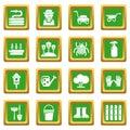 Gardener icons set green square vector Royalty Free Stock Photo