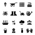 Gardener icons set, simple style