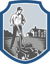 Gardener mow lawn mower woodcut shield illustration of male mowing with facing front set inside crest with house in background Royalty Free Stock Image