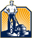 Gardener mowing lawn mower retro illustration of male with facing front done in woodcut style on isolated white background Royalty Free Stock Photography