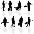 Gardener people black vector illustartion Royalty Free Stock Photo