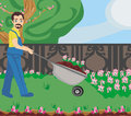 Gardener planting flowers illustration Stock Photos