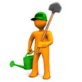 Gardener With Watering Can And Spade Stock Photo