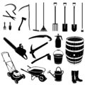 Set of farming and gardening tools silhouette