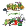 Gardening banner with tools Royalty Free Stock Photo