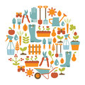 Gardening card round with design elements Royalty Free Stock Photo